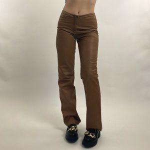 Vintage 90's Max Studio Leather Caramel Brown Pant